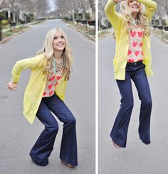 Love the heart-tee, pants and sweater! Cute mix! would love a yellow open cardigan- no buttons though