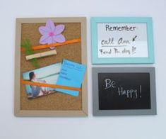 Picture frames that are missing the glass or that don't fit your photos properly. Instead of tossing them, turn them into cute note boards. Feminine Decor, Ball Ornaments, Repurpose Picture Frames, Picture Frames, Diy Felt Christmas Ornaments, Trending Decor, Frame, Storage Solutions Diy, Simple Christmas