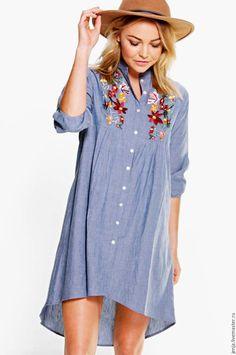 Cotton shirt / Flowers and denim shirt dress - голубой, цветочный, платье, джинсовое платье