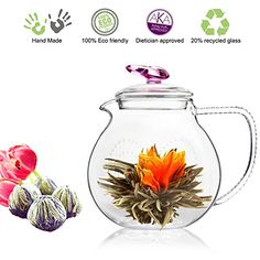 Tea Beyond Tea Set Teapot Pink Love 34 Oz Detox Flowering Tea White Tea No GMO No Natural Flavors Added Glass Teapot with Tea Infuser Non Drip Teapot for Flowering Tea or Loose Leaf Teas ** Click on the image for additional details.