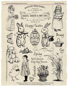 Easter Bunny Rubber Stamp Collection