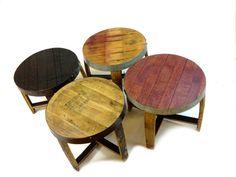 "The ""snap"" Wine & Bourbon Barrel End Tables (red, Burgundy, Black, Oak, Round…"