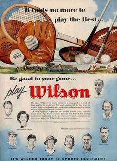 Wilson Sports Football Baseball Bob Feller Ad T (1955) | Vintage ...