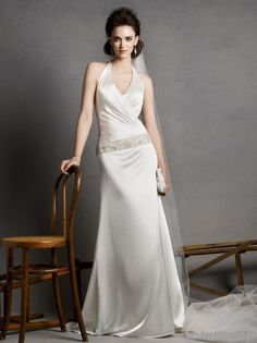 A-line Halter Strap Sweep/Brush Train Satin Wedding Dress with Appliques Beading and Embroidery - EveAllure