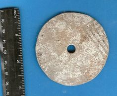 """Spindle Whorl Potsherd, Gallup Black and White, collected in New Mexico, USA, 2-3/4"""""""