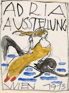 Vorzeichnungen für Postkarten der Adria-Ausstellung 1913 Bertold Löffler Tusche, Kreide, Aquarellfarben Disney Characters, Fictional Characters, Poster, Postcards, Fantasy Characters, Billboard