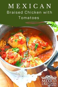 Easy flavorful one pot dish. This chicken is cooked with fresh tomato sauce. It doesn�t need that many spices or herbs to render one of the most memorable stews you will ever taste! #mexicanfood #foodrecipes #chickendinner #lowcarb #chickeninapot Authentic Mexican Recipes, Mexican Chicken Recipes, Potluck Dinner, Mexican Potluck, One Pot Dishes, Side Dishes, Pollo Guisado, Real Mexican Food, Braised Chicken