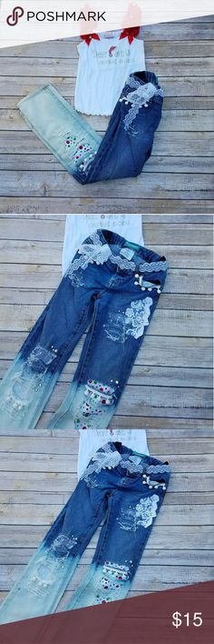 Dear Santa Distressed Denim Jeans Set Size 7 Dear santa I can explain white petti tank top with bling and matching distressed skinny jeans. Jeans are size 7r old navy skinny jeans. Christmas polka dots and lace embellishing. Lace belt. In great condition.  #ravenkittyminis #santa #holiday #christmas #dearsanta #bling #size7 #girls #distressed #denim #set #lace Matching Sets