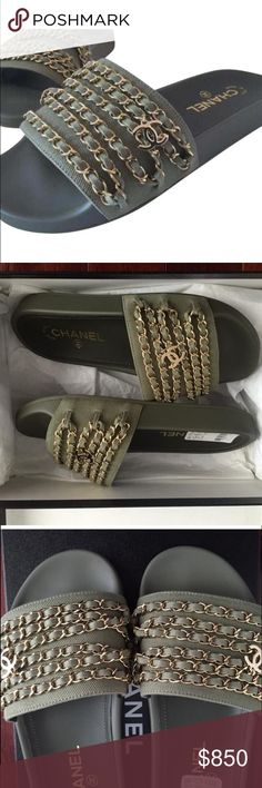 """Chanel Tropiconic Mules Shoes Slides Chain Olive CHANEL TROPICONIC MULES SOLD OUT EVERYWHERE!!! New With Tags Message me for free shipping!!! Chanel Khaki Tropiconic Chain Mules 1"""" Heel height Gold tone hardware Box and dust bag are included Size: 37 NEW IN BOX!!! CHANEL Shoes Mules & Clogs"""