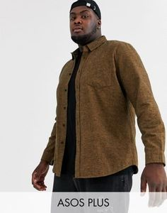 ASOS DESIGN Plus regular fit flannel marl shirt in brown at ASOS. Flannel, Latest Trends, Asos, Men Sweater, Brown, Fitness, Sweaters, Shirts, Stuff To Buy