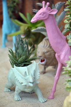 ReFab Diaries: Repurpose: Old toys = new grown-up decor ... Plastic DINO/SAFARI toys into fun planter for kids' room!