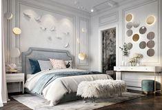 Dec 8 2019 - Beautiful luxury bedroom decor with blue light blue luxury bed glamour style luxury bedroom Luxury White Bedroom Furniture, Home Decor Bedroom, Modern Furniture, Cozy Bedroom, Bedroom Sets, Bedroom Apartment, Rustic Furniture, Antique Furniture, Master Bedroom