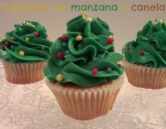 Sivila Happy Bakery : ♥ Cupcakes de manzana y canela convertidos en arbolitos de Navidad. Nº 10 del reto!!