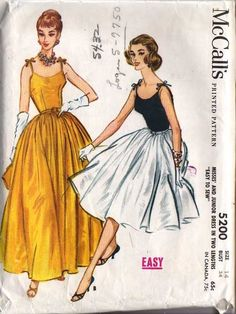 McCall's 5200 1959 tied shoulder evening gown or cocktail party dress with side zipper; full flared skirt. Optional velvet bodice! Camisole top dress with four-gore gathered skirt in two lengths. Short version made in two fabrics. Bodice is lined. Shoulder straps tied on shoulders. Left side zipper placket.