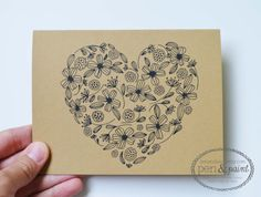 Set of Four Floral Folded Note Cards Stationery by penandpaint, $8.00