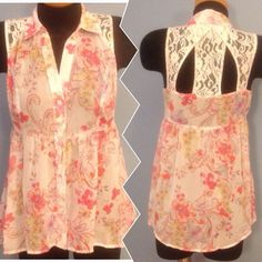 BOGO SALE! Candie's Lace floral top Sheer top, lace on shoulders and back. Very cute. Like New!!! Candie's Tops