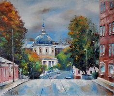"""Oktober in Moscow"" 20x24 inches https://www.etsy.com/listing/559240607/cityscape-autumn-landscape-original-art"