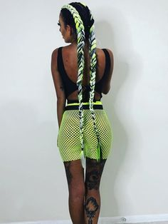 Extra long and thick neon fluro yellow green white black braid extensions. Festival Braid, Music Festival Hair, Box Braids Hairstyles, Festival Hairstyles, Rave Hair, Colored Braids, Viking Hair, Braid In Hair Extensions, Natural Hair Styles