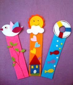 DIY paper craft, marque page Bookmark Crochet, Felt Bookmark, Bookmark Craft, Origami Bookmark, Crafts To Do, Felt Crafts, Easy Crafts, Crafts For Kids, Paper Crafts