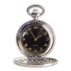 Personalized Pocket Watch with Black Dial Hand Engraved by AnniesHours on Etsy