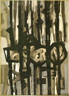 Mau, Mau: William Gear (1953). Painted for an exhibition at the Tate called 'figures in their settings' but never exhibited there. It caused a furore when shown in Bradford in the following year, apparently.