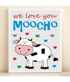 "Farm Animal Nursery Baby Cow Art Print with Hearts: ""We Love You Moocho"" in Custom Colors Farm Animal Nursery, Quotes Kids, Baby Cows, Cow Art, Baby Wall Art, Grandchildren, Farm Animals, Hearts, Love You"