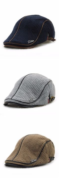 $9.88 Six Colors Men Wool Knitting Beret Caps Newsboy Buckle Adjustable Casual Outdoors Peaked Hat