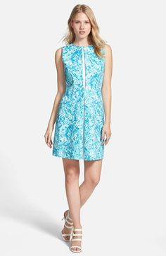 MICHAEL MICHAEL KORS 'Lake' Print Pleated Cotton Sateen Dress (Regular & Petite). #michaelmichaelkors #cloth #dress