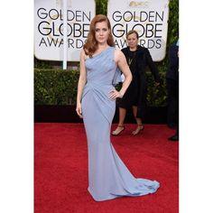 Amy Adams Baby Blue One Shoulder Evening Dress 2015 Golden Globe Awards