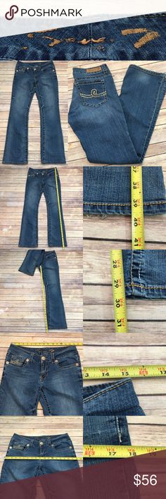 🌷Size 8 Seven 7 Bootcut Jeans embroidered pockets Measurements are in photos. Normal wash wear, no flaws. C1  I do not comment to my buyers after purchases, do to their privacy. If you would like any reassurance after your purchase that I did receive your order, please feel free to comment on the listing and I will promptly respond. I ship everyday and I always package safely. Thanks! Seven7 Jeans Boot Cut