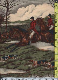 Elgin Fields Fox Hunting English Riding - Horses / Equestrian, Musical Fabrics