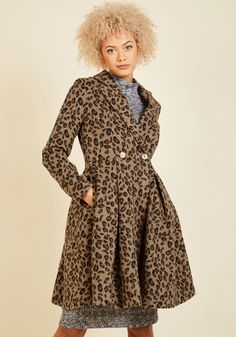 Posh That Thought Coat. We interrupt your site perusal to inform you that this leopard-print coat is here to instantly elevate your look! #brown #modcloth