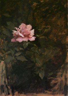Dennis Miller Bunker (American, 1861-1890), Pink Rose, c. 1886. Oil on canvas.
