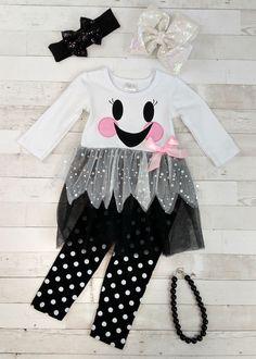 The Hair Bow Company - Sweet Ghost Tutu Tunic Baby Girl Skirts, Little Girl Dresses, Girls Dresses, Polka Dot Leggings, Polka Dot Pants, Toddler Outfits, Kids Outfits, Baby Outfits, Baby Rocker