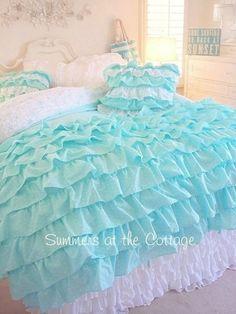Shabby cottage chic aqua teal ruffles polka dot duvet comforter cover set king