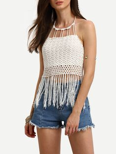 To find out about the Tassel Trimmed Halter Lace-up Crochet Top at SHEIN, part of our latest Tank Tops & Camis ready to shop online today! Crochet Halter Tops, Crochet Crop Top, Crochet Bikini, Crochet Woman, Knit Crochet, Boho Outfits, Fashion Outfits, Macrame Dress, Crochet Cover Up