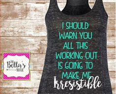 Funny Workout shirt- Workout tank- Workout Shirt- Women's Workout shirt- Fitness…