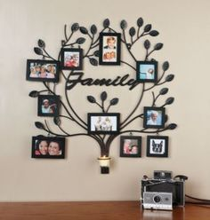 Lovely Ideas Family Tree Picture Frame Wall 35 My Of Life Family Tree Picture Frames, Family Tree With Pictures, Family Tree Photo, Display Family Photos, Picture Wall, Photo Wall, Frame Wall Collage, Frames On Wall, Wrought Iron Wall Decor