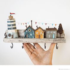 """Order key holder / coat hanger """"lighthouse"""" wall made of wood . - Order key holder / coat hanger """"Lighthouse"""" wall made of wood … – Order the key holder / coat h - Beach Crafts, Diy Home Crafts, Clay Crafts, Arts And Crafts, Driftwood Projects, Driftwood Art, Diy Projects, Wooden Art, Wooden Crafts"""