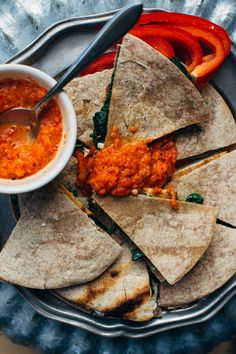 Grilled Tofu Quesadillas with Spinach, Feta + Roasted Red Pepper Sauce