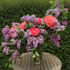 Lilac and 'Coral Charm' peonies for the church