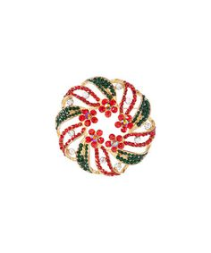 Red & Goldtone Floral Brooch #zulily #zulilyfinds #brooche #pendant #necklace #broochependant #hotdeal #holidayshopping #necklace #christmasshopping #bling #stockingstuffer #jewelry #jewelrysale #giftidea #sale #gift #fashion #fashionjewelry #pavcusdesings #pavcus #holidayjewelry #wreathjewelry #christimas