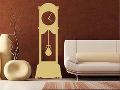 Buy Grandfather Clock Wall Decal from Dana Decals. Wall Stickers Murals, Vinyl Wall Decals, Wall Clock Grandfather, Modern Clock, Wall Shelves, Shelving, Creative Walls, Custom Vinyl, Black Walls