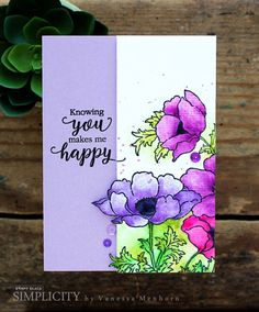 Featuring the cling stamp Poppy Gems, SKU 745818, available at www.addictedtorubberstamps.com Card created by Vanessa Menhorn.