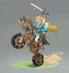 Link & Zelda with the Marter Cycle Zero (The Legend of Zelda: Breath of the Wild)