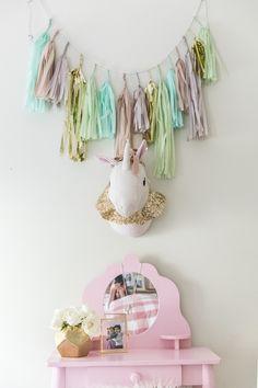 Pink Girl's Vanity in Vintage Big Girl's Room