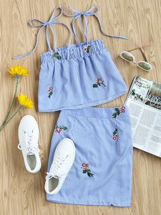 Shop Self Tie Embroidered Striped Cami Top And Skirt Co-Ord online. SheIn offers Self Tie Embroidered Striped Cami Top And Skirt Co-Ord & more to fit your fashionable needs. Teen Fashion, Korean Fashion, Fashion Outfits, Womens Fashion, Fashion Clothes, Outfits For Teens, Trendy Outfits, Cool Outfits, Striped Outfits