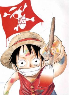Luffy drawing the Straw Hat Jolly Roger