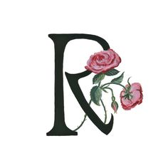 R is for Rose Floral Alphabet 5x7 or 8x10 print by Nonfictional