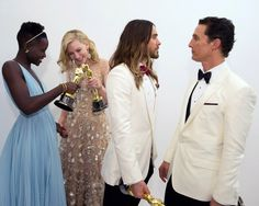 Oscar winners Lupita Nyong'o, Cate Blanchett, Jared Leto and Matthew McConaughey pose backstage with their Oscars.